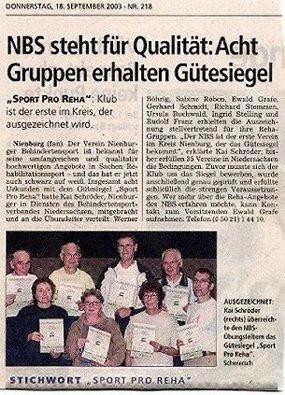 Zeitungsartikel 2003